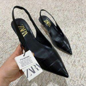 NWT Zara Leather Slingback Heels in Black